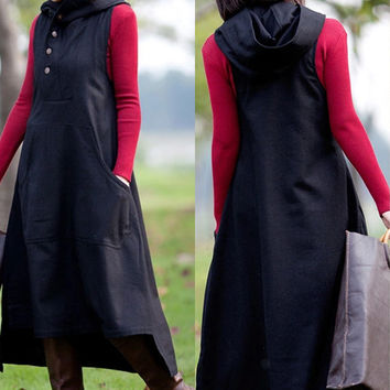 spring hoodie dress with pocket Plus size winter blouse Casual Jacket Casual winter vest long dress Warm Dress (D10107)