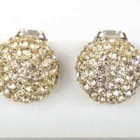 Round Rhinestone Earrings Silver Toned Clip On 3/4 inch Clustered Dome Jewelry