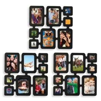 Melannco Multiframe 8-Photo Wall Collage in Black (Set of 3)