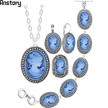 Oval Lady Queen Cameo Jewelry Set Antique Silver Plated Necklace Earrings Bracelet Fashion Jewelry TS419
