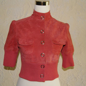 Vintage 1980s Pink Suede Guess Three Quarter Or Childs Jacket With Snap Closures Size Small