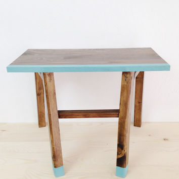 Modern Furniture, Unique Table, Wooden Bedside Table, Scandinavian Table, Retro Nightstand, Side Table, Coffee Table, Turquoise Furniture