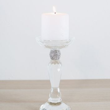 "Wedding Crystal Glass Candle Holder - 8.25"" Tall"