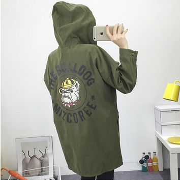 New 2017 autumn women ladies denim hoodie long jacket Mickey friend bulldog print Boyfriend denim cardigan jacket jean feminina