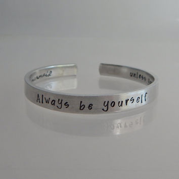 Always be yourself unless you can be a mermaid... then always be a mermaid / Two sided Hidden Message Hand Stamped Adjustable Bracelet