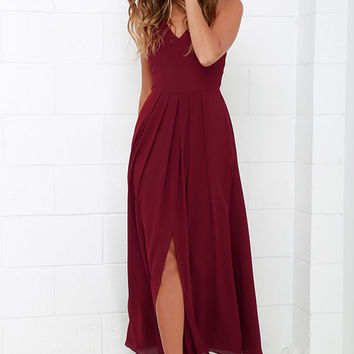 Show of Decorum Wine Red Maxi Dress