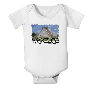 Mexico - Mayan Temple Cut-out Baby Romper Bodysuit