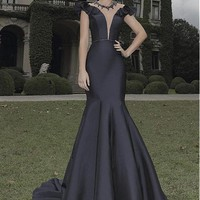 [99.99] Gorgeous Tulle & Satin Scoop Neckline Mermaid Evening Dresses With Beads - dressilyme.com