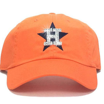 Houston Astros '47 Brand Adjustable Cap + Custom Swarovski Crystals - Orange