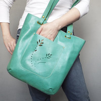 Turquoise leather tote bag. Summer leather tote.