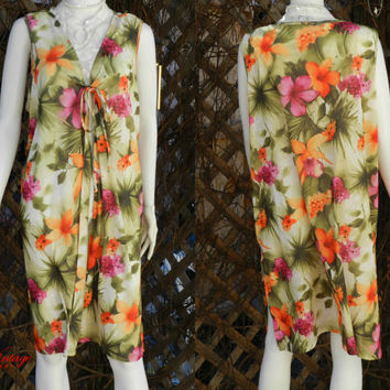 Hawaiian Pink, Orange and Green Floral Beach Poolside Robe/Dress  - Drapery Wrap, Tropical Flower Swim Suit Cover Up , One Size Fits Many