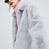 Story Of Lola Cropped Faux Fur Collared Jacket at asos.com