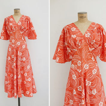 1970s Dress - Vintage 70s Orange Psychedelic Floral Dress - Isla De Flores Dress