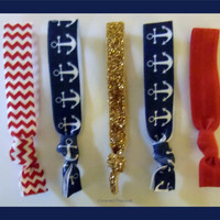Set 5 ANCHOR Elastic Hair TIES, Navy Blue Nautical, Navy Mom, No Tug Yoga, Mother's Day Gift, Red Chevron Gold Glitter