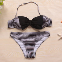 Striped Bikini Set  Bow Swimsuit Push Up Bikini