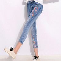 Summer Style Women Denim Jeans Flower Print Nine pants Skinny Jeans Pencil Pants