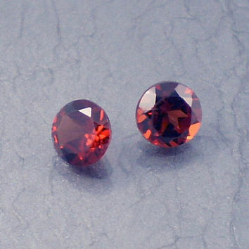 Garnet: 1.14twt Red Round Shape Gemstone Pair, Natural Hand Made Faceted Gem, Loose Precious Mineral, OOAK Cut Crystal Jewelry Supply 10082