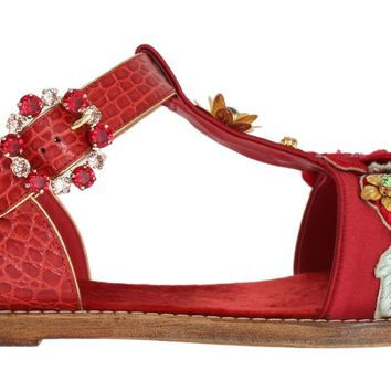 Red Crocodile Crystal Roses Sandals