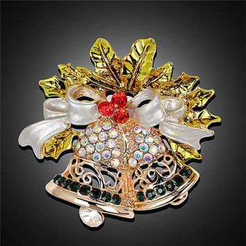 Christmas Bell Brooch Pin W Swarovski Crystal Xmas Gift Clothing Decoration HU