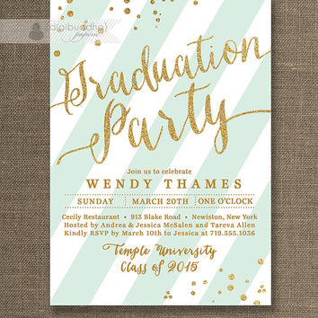 Shop graduation college party on wanelo gold mint graduation party invitation gold glitter mint green filmwisefo