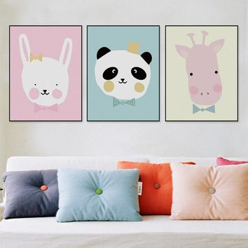 Cartoon Animals Wall Art Canvas No Frame, Small-Mid-Large Sizes - Free Shipping