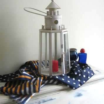 Vintage Lighthouse Lantern , Glass and Metal Lighthouse Garden Decor Ready to Hang , Nautical Theme Outdoor Candle Holder