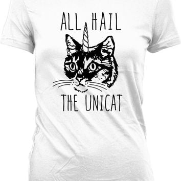 Funny Cat Shirt All Hail The Unicat Caticorn Cat Unicorn Shirt Gifts For Cat Lovers Unicorn Gifts Kitten Clothing Kitty Ladies Tee WT-314
