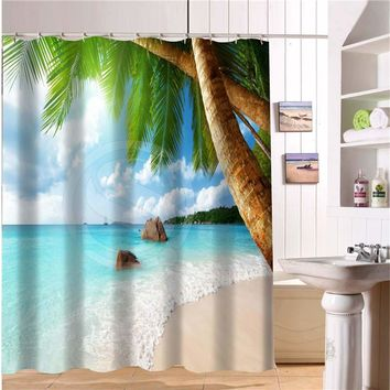 2017 Custom Bath Curtain beach summer ocean sky sea nature Fabric Modern Shower Curtain bathroom Waterproof Curtains Bath decor
