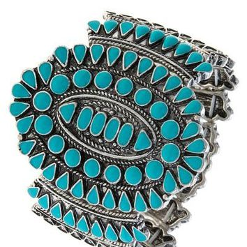 Turquoise Cluster Cuff Bracelet