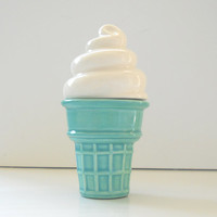 Ice Cream Cone Trinket Box Aqua Mint