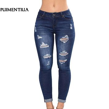 Puimentiua 2019 Women High Waist Casual Denim JeansSlim Plus Size Ripped Hole Long Jeans Denim Regular Pants Women Mom Jeans