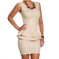Champagne Texture Peplum Dress