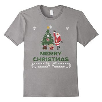 Drunk Santa Ugly Sweater Style T-Shirt Merry Christmas
