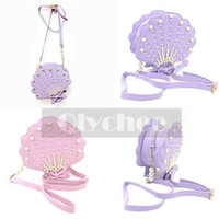 Women Lolita Sea Shell Pearly Shoulder Bag Synthetic Leather Handmade Lovely New