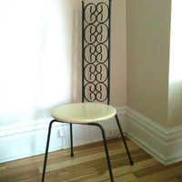 Unique Vintage High Back Iron Chair with Round Cream Vinyl Seat
