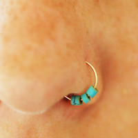 Turquoise nose ring, gold hoop, nose earring, turquoise hoop earring, turquoise nose hoop silver, small gold hoop