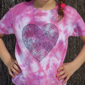 Custom Zentangle Heart Shirt- Girl Valentine Shirt- Girls Heart Shirt- Girls Heart Tshirt- Girls Tie Dye Shirt- Girls Valentines Outfit