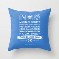The Office Season 4 Episodes 1-2 - Michael Scott Rabies Awareness Fun Run - Blue & White Throw Pillow by Noonday Design