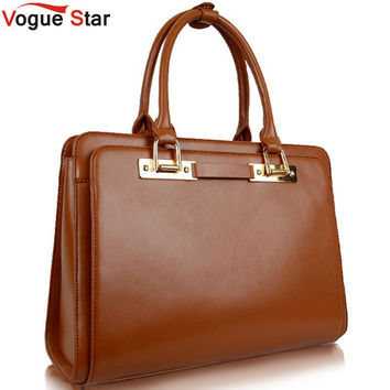 Vogue Star Fashion shoulder bag briefcase women shaping genuine leather handbag women bag 2016 bag  simple casual bag YK40-601