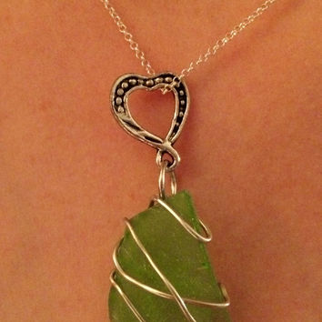 Homemade Sea Glass, Wire Wrapped Necklace