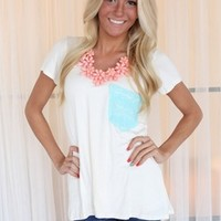 Mint Lace Pocket Solid Top White