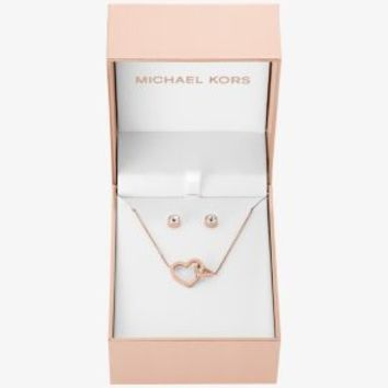 Rose Gold-Tone Heart Pendant Necklace and Stud Earrings Set | Michael Kors
