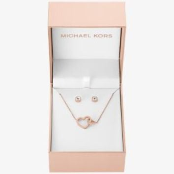 dace54f1cfc6e Rose Gold-Tone Heart Pendant Necklace and Stud Earrings Set
