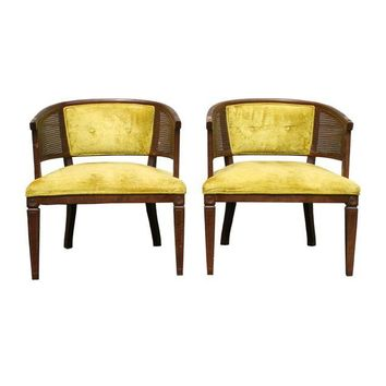 Pre-owned Caned Barrel Chairs - A Pair