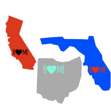 Home is Where the Heart is State Decal