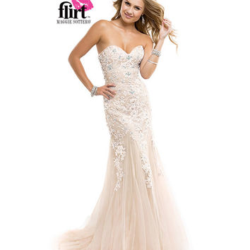 Flirt by Maggie Sottero 2014 Prom Dresses - Ivory Nude Strapless Tulle Dress with Lace Appliques