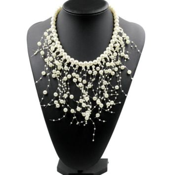 Popular jewelry personalized multi - layer pearl tassel necklace accessories