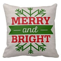 Pillow Cover Holiday Christmas Snowflake Merry and Bright