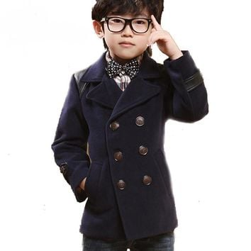 High quality Double Breasted Kids Boys Wool Coat British Style PU Patch Children Winter Clothes Thicken Cotton Boy Wool Jacket