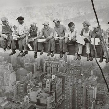 Men on A Beam Steelworkers Rockefeller Center Poster 24x36